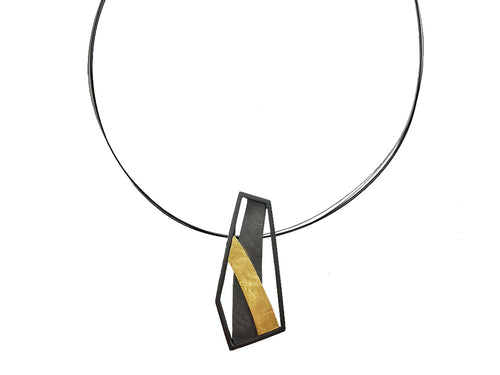 Oxidized and Gold Plated Sterling Silver Pendant Necklace