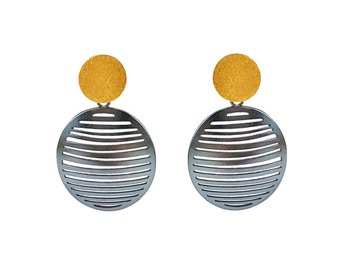 Gold Plated and Oxidized Sterling Silver Earrings