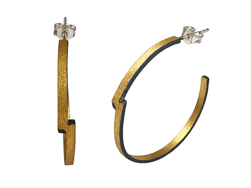 "Oxidized and Gold Plated Sterling Silver ""Zig Zag"" Hoop Earrings"
