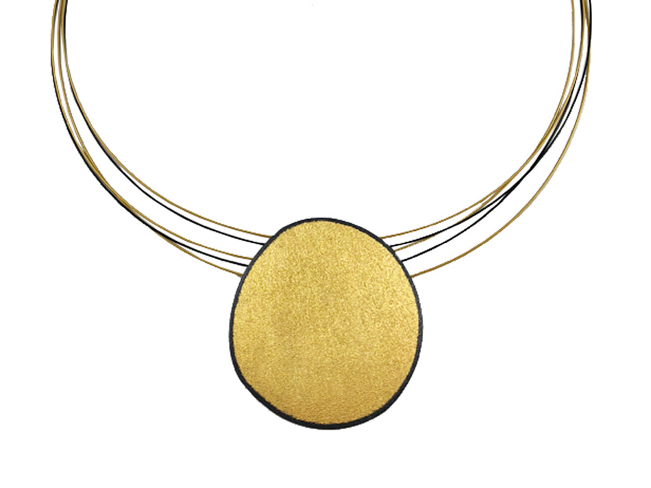 Oxidized-, Gold- and Ruthenium-Plated Sterling Silver Necklace