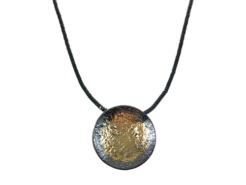 Partially Oxidized and Gold Plated Sterling Silver and Hematite Necklace
