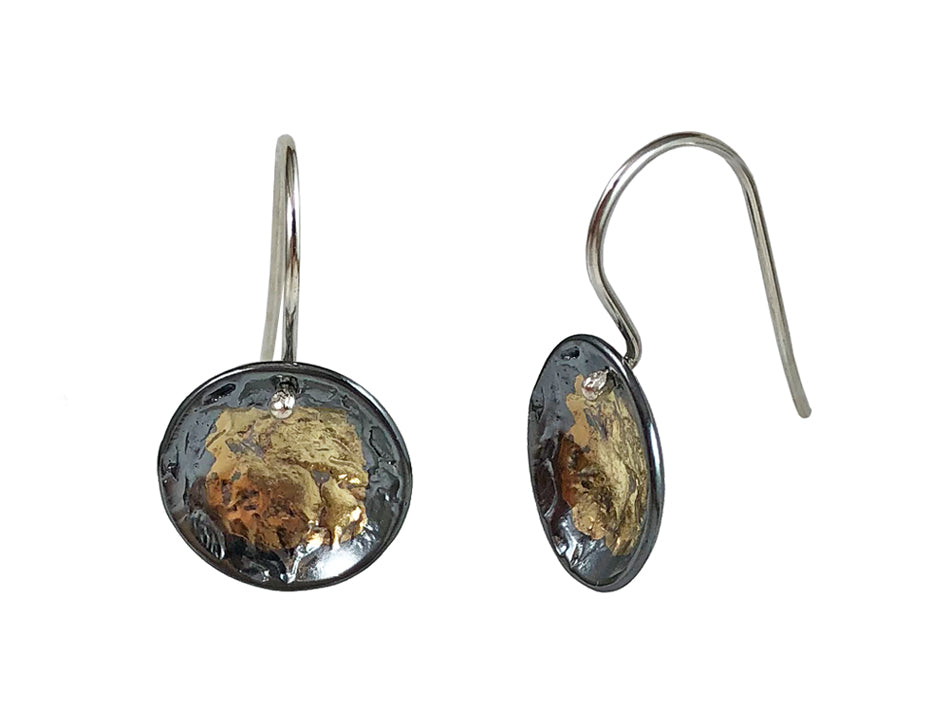 Partially Oxidized and Gold Plated Sterling Silver Earrings