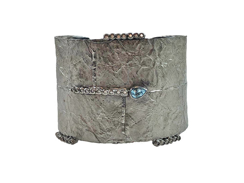 Oxidized Sterling Silver and Aquamarine Cuff Bracelet