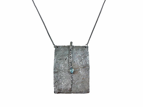 Oxidized Sterling Silver and Aquamarine Necklace