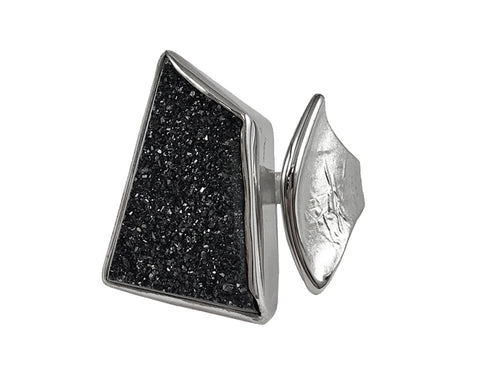 Sterling Silver and Black Druzy Ring