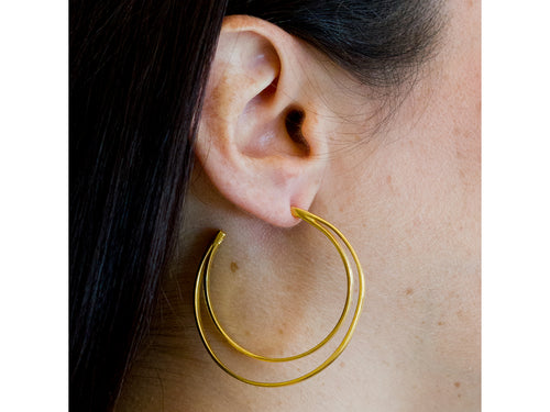 Gold Plated Sterling Silver Hoop Earrings