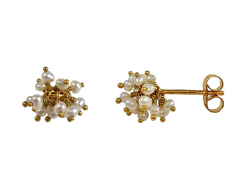 "Gold Plated Sterling Silver and Pearl ""Pom Pom"" Earrings"