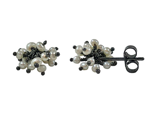 "Oxidized Sterling Silver and Pearl ""Pom Pom"" Earrings"