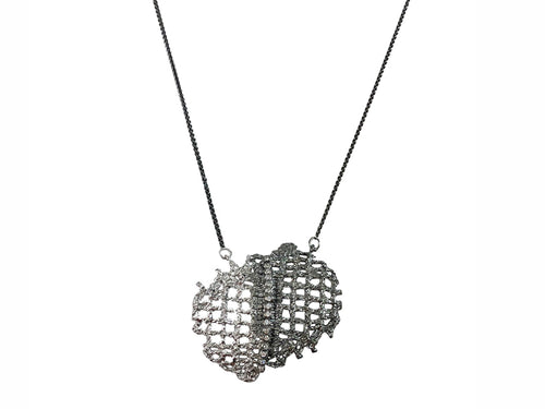 Partially Oxidized Sterling Silver and Cubic Zirconia Pendant Necklace