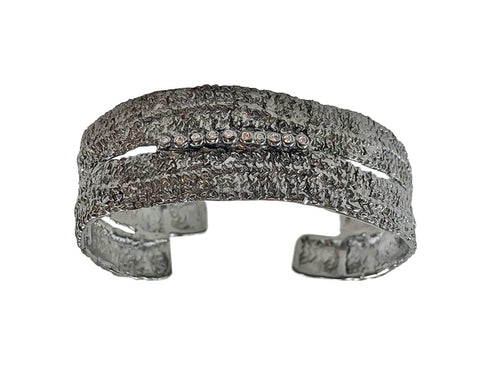 Oxidized Sterling Silver and Cubic Zirconia Cuff Bracelet