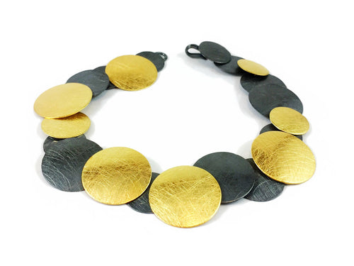 Oxidized and Gold Plated Sterling Silver Bracelet