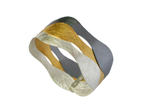 Oxidized Sterling and Gold Plated Sterling Silver Bracelet