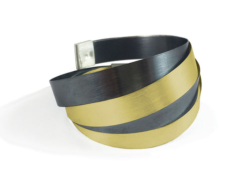 "Oxidized and Gold Plated Sterling Silver ""Wrap"" Bracelet"