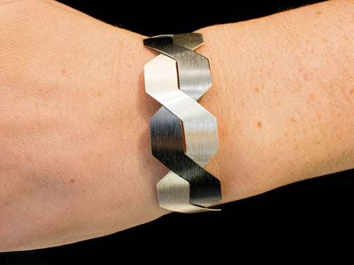 Black Oxidized and Brushed Sterling Silver Bracelet