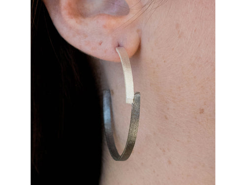 "Silver ""Zig Zag"" Hoop Earrings"