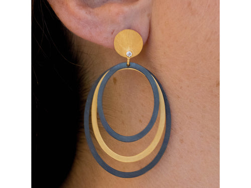 Oxidized and Gold Plated Sterling Silver Earrings