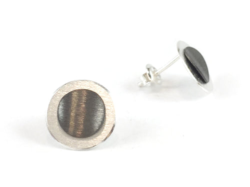 Partially Ruthenium Plated Sterling Silver Stud Earrings