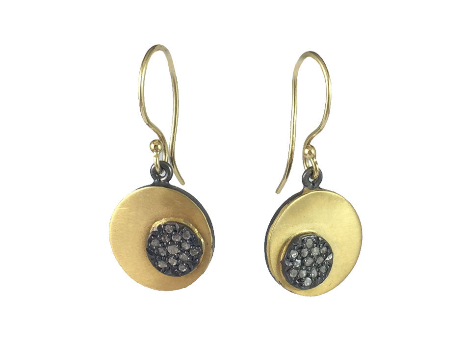 Oxidized Silver, Yellow Gold and Diamond Earrings