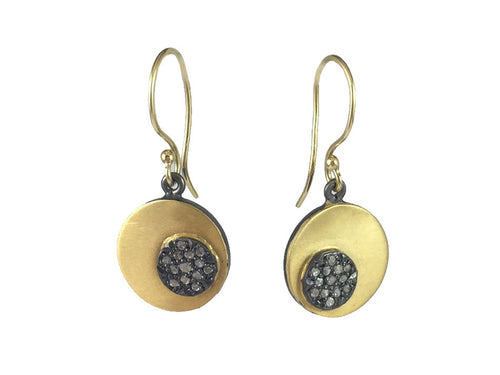 Oxidized Sterling Silver, 14K Yellow Gold and Diamond Earrings