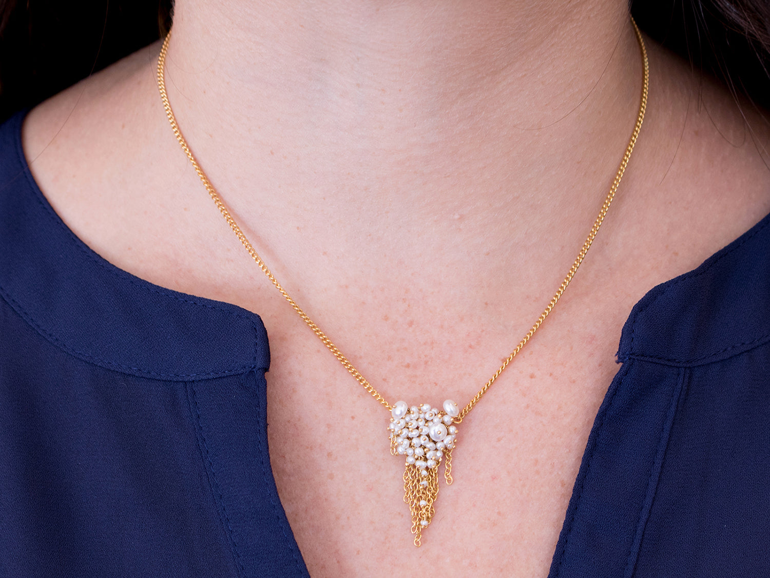 Gold Plated Sterling Silver and Pearl Necklace