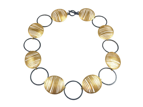 Gold Plated and Oxidized Sterling Silver Necklace
