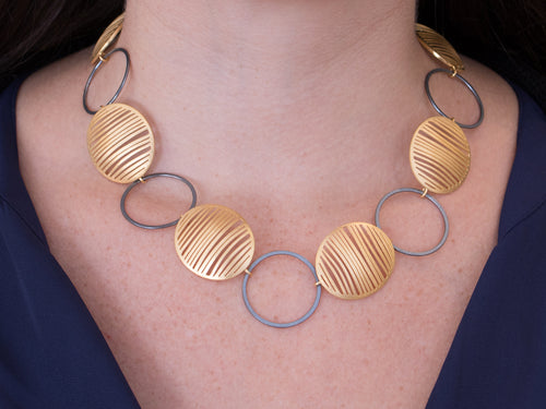 Gold Shields and Silver Hoops Necklace