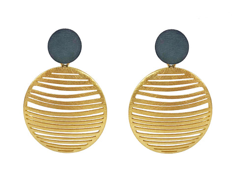 "18K Yellow Gold ""Planet"" Earrings"
