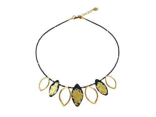 Oxidized and Gold Plated Sterling Silver Necklace