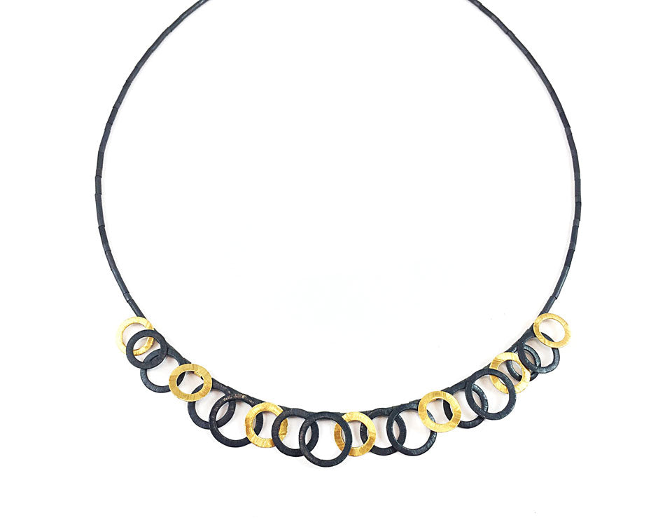 Oxidized and Gold Plated Sterling Silver and Hematite Necklace