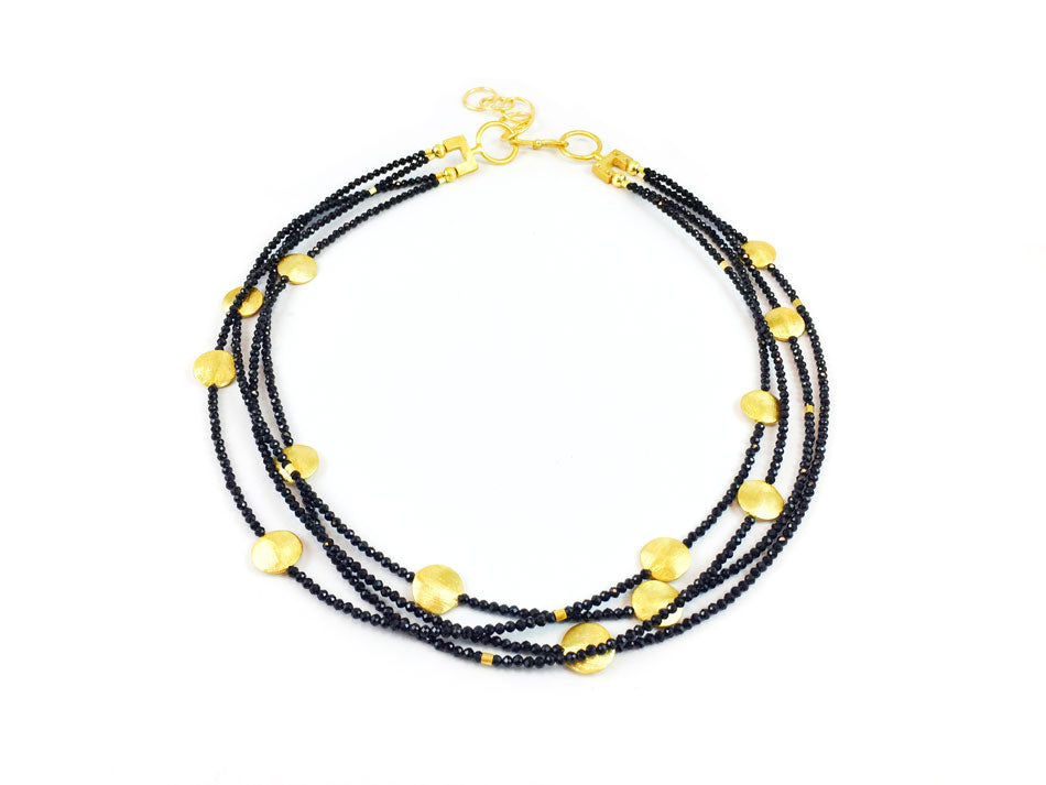 Gold Plated Sterling Silver and Spinel Necklace