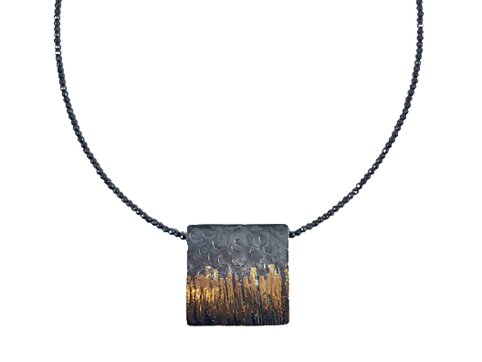 Sculptural Pendant with Hematite Necklace