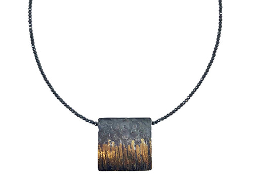 18K Yellow Gold, Oxidized Sterling Silver and Hematite Necklace