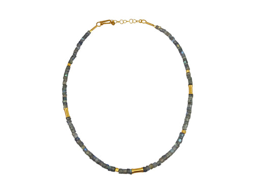 Gold Plated Sterling Silver and Labradorite Bead Necklace