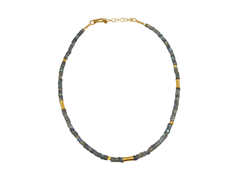 14K Yellow Gold and Oxidized Sterling Silver Necklace