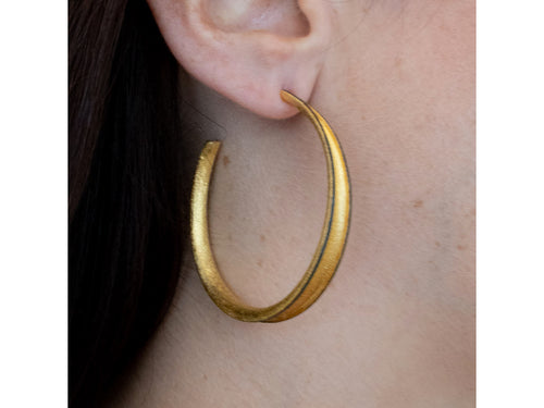 Ruthenium and Gold Plated Sterling Silver Hoop Earrings