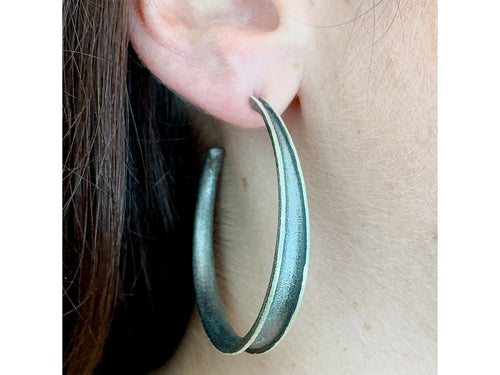 Ruthenium Plated Sterling Silver Hoop Earrings