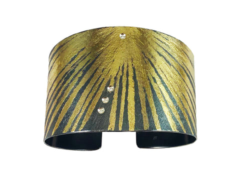 Oxidized Sterling Silver, 18K Yellow Gold, Aquamarine and Diamond Cuff Bracelet