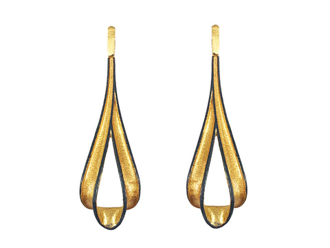 Oxidized and Yellow Gold Plated Sterling Silver Earrings