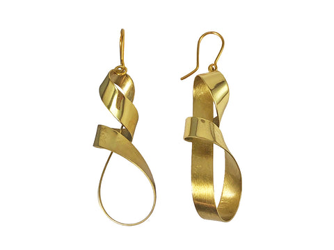 "Partially Ruthenium Plated Sterling Silver ""Zig Zag"" Hoop Earrings"