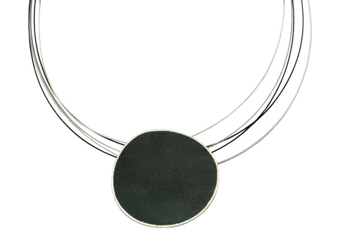 14K Yellow Gold, Oxidized Sterling Silver, Diamond and Tahitian Pearl Necklace