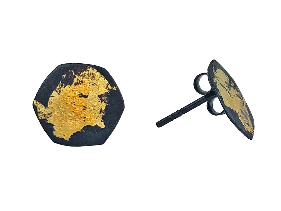 Oxidized and Gold Painted Sterling Silver Stud Earrings in Washington DC