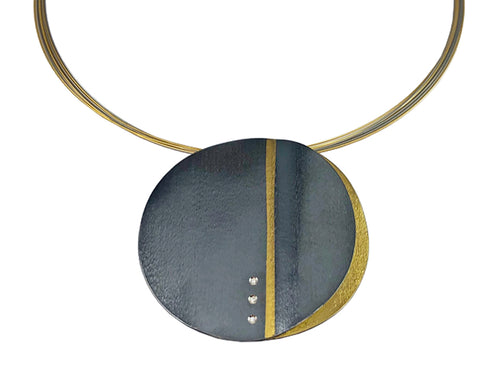 Oxidized and 22K Yellow Gold Plated Sterling Silver, Stainless Steel and Diamond Necklace