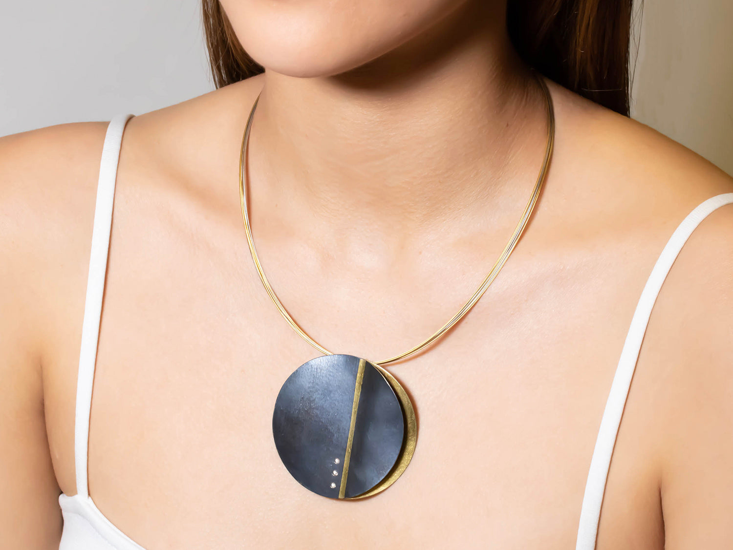 Tri-tone Disc Pendant Necklace