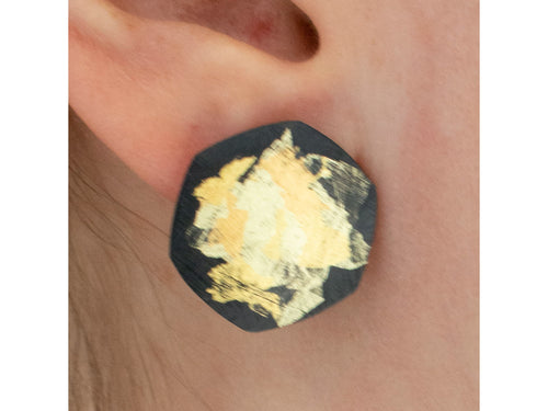 Oxidized Sterling Silver and Gold Painted Stud Earrings