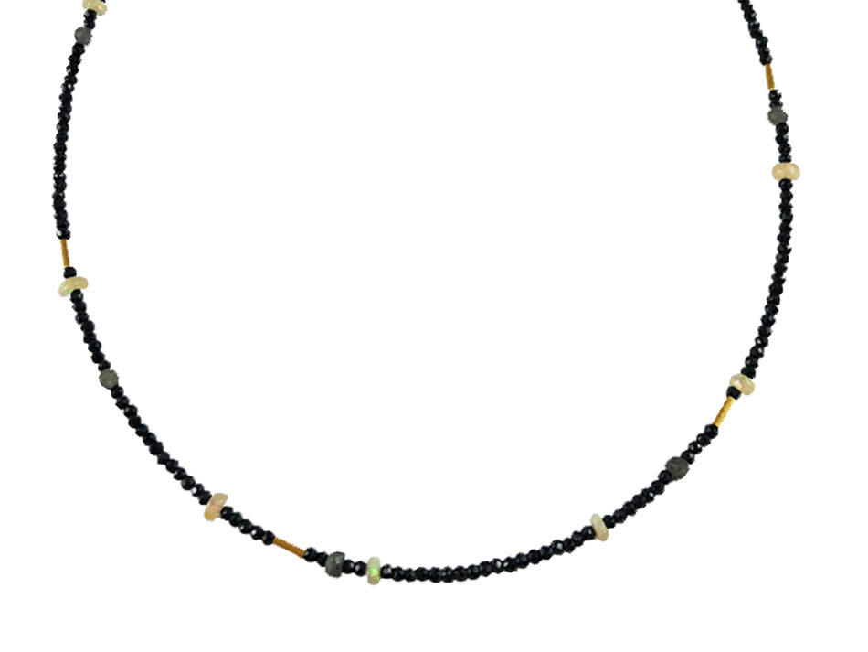 Gold Plated Sterling Silver, Labradorite, Opal and Hematite Necklace