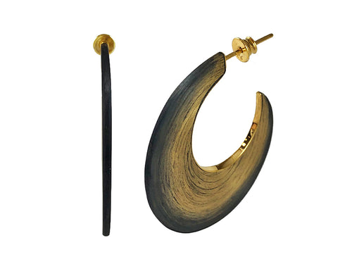 Gold Plated Sterling Silver and Carbon Fiber Hoop Earrings