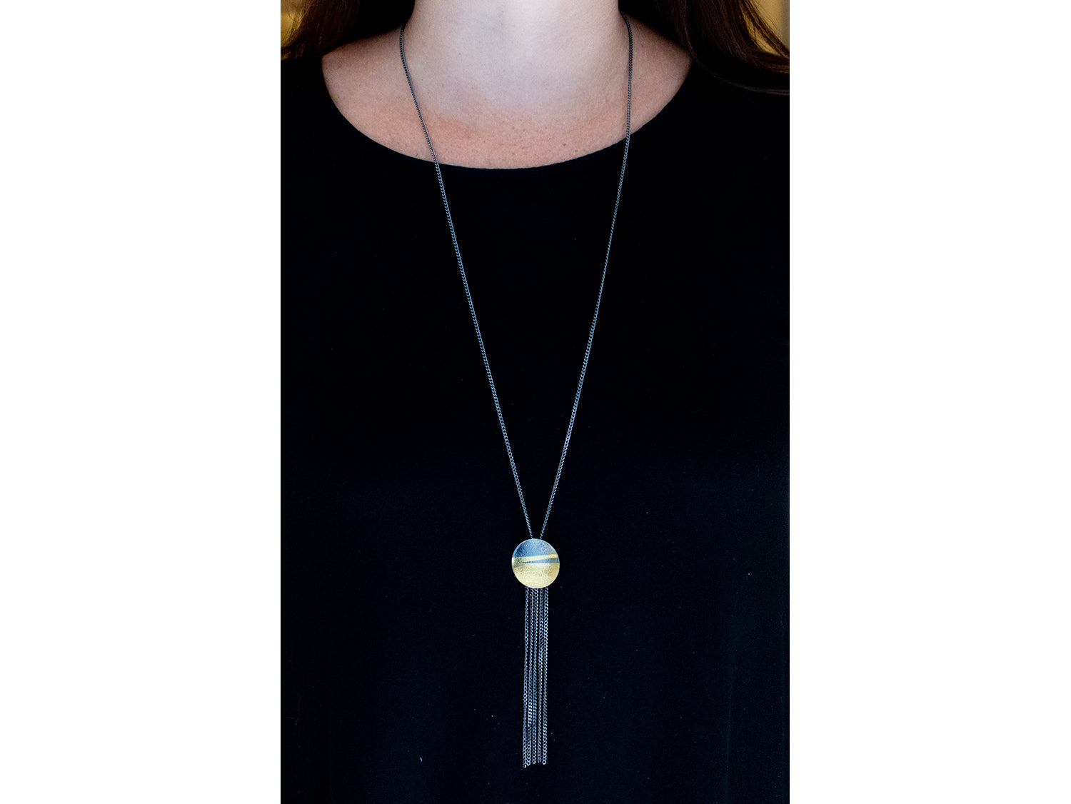 Gold and Oxidized Sterling Silver Necklace at the best jewelry store in Washington DC