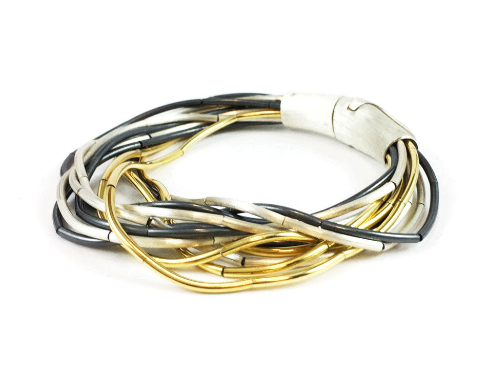 Oxidized and Gold Plated Silver Bracelet