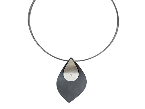 Oxidized and Non-Oxidized Sterling Silver Necklace