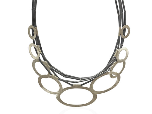 Partially Oxidized Sterling Silver Necklace